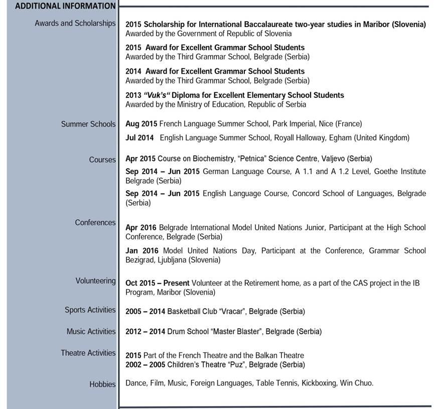 primer cv-ja europass additional information via academica studije i stipendije u inostranstvu