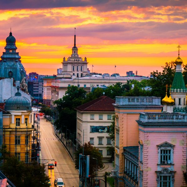 Sofia, capital of Bulgaria on a sunset, magnificent view from above over the historical buildings Via Academica study abrad