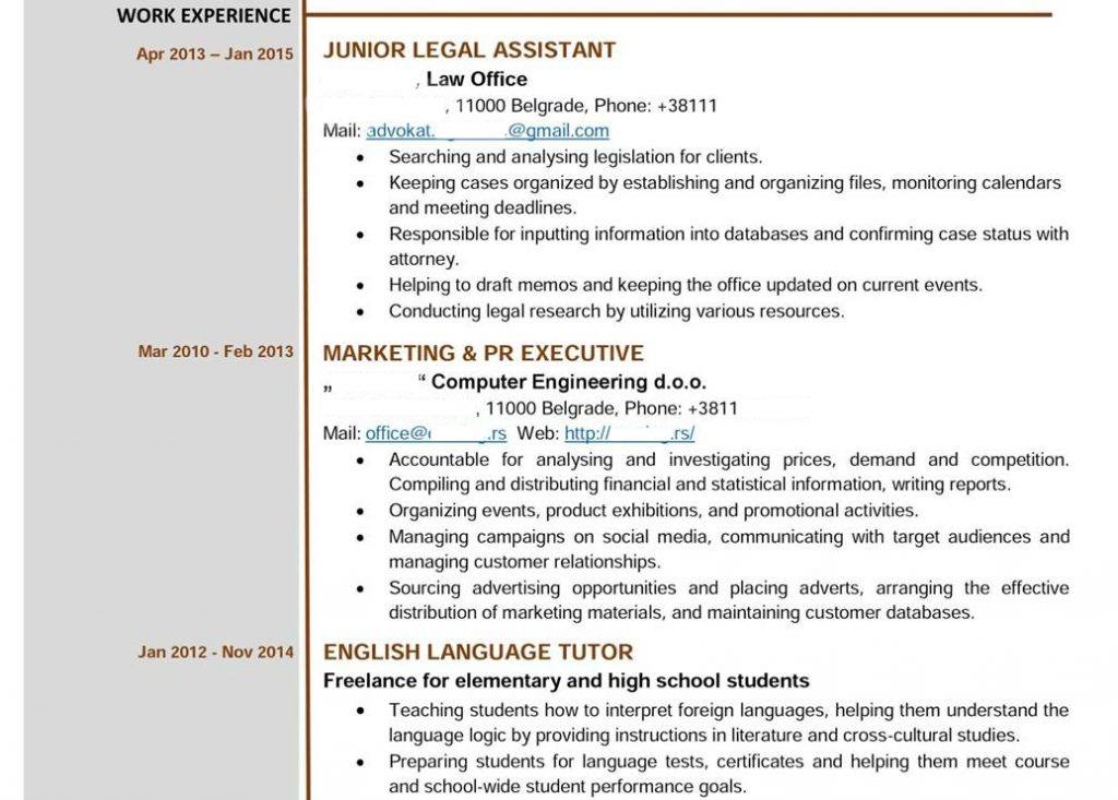 primer cv-ja europass za studije u inostranstvu work experience